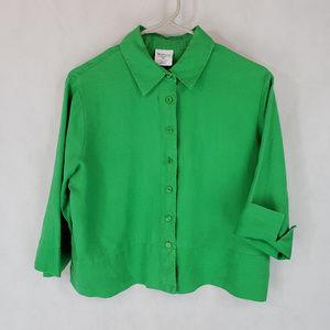 Westbound Petites PM Kelly Green Linen Shirt